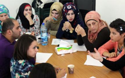 Members of the Constitutional Shadow Committee participate in a constitution drafting session after completing a capacity development workshop. Photo: Palestinian Centre for Peace and Democracy/Ibrahim Abdeljawwad