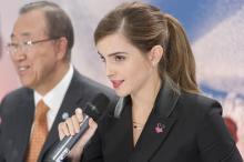 UN Women Goodwill Ambassador Emma Watson launched a new initiative as part of the He For She campaign - IMPACT 10x10x10. UN Photo/Mark Garten