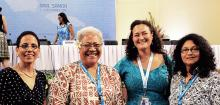 Second from left- Hon. Fiame Naomi Mataafa, Samoa's longest standing Member of Parliament and the first female member of Cabinet. Photo: UN Women/Olivia Owen.