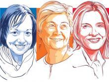 Jenni Byrne (à  gauche), Anne Mcgrath et Katie Telford