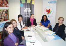 Los equipos de trabajo del Sector Educación de UNESCO Quito y del CNIG y Sra. Moni Pizani, Representante de ONU Mujeres en el Ecuador-Foto Unesco